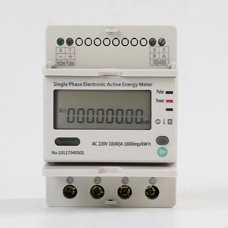 LCD affichage 000000.00-999999.99 compteur d'énergie 220VAC 10 (40) Un Din type monophasé électronique d'énergie active mètre avec RS485