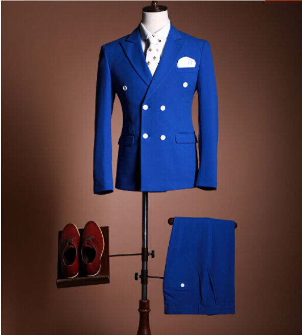 New men suits blue double breasted wedding groom/groomsman ...