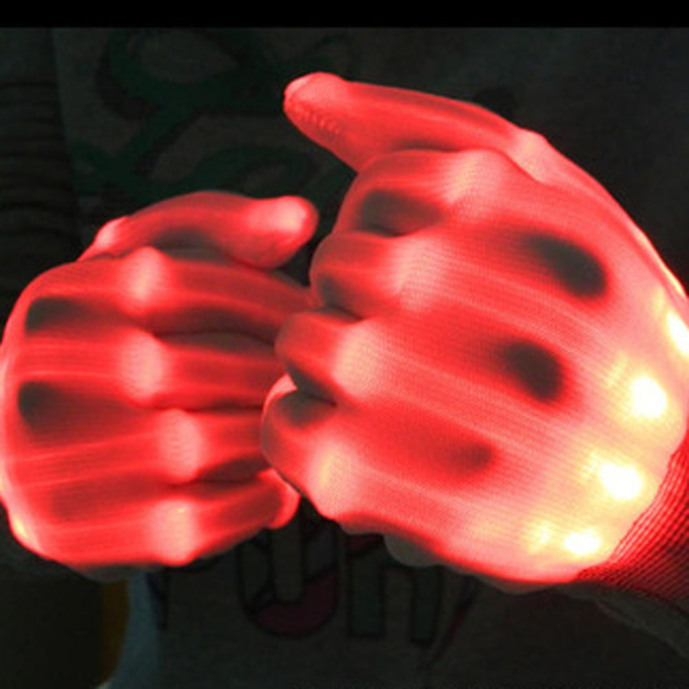 FancyQube 1pair Flashing Performance Gloves LED Rave Glove Light Up Fake Bone Yellow Gloves For Party Supplies 7 Colors