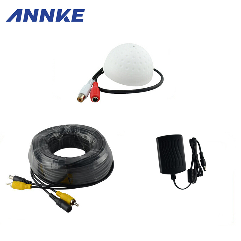 ANNKE CCTV High Sensitive Microphone Security Camera RCA Audio Mic DC Power Cable For Home Security System dc 6 12v cctv high sensitive microphone security camera rca audio mic dc power 20m cable for home security dvr system add 12v dc