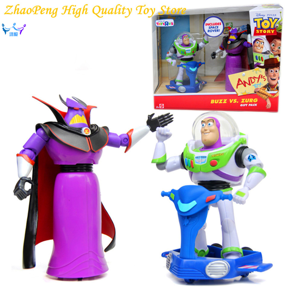 Free Shipping 2pcs/set Anime Toy Story 3 Buzz Lightyear Emperor Zurg ABS Action Figure Collectible Model Toy Kids Gifts FB250 original toy story 3 buzz lightyear robot light voice elastic wings 30cm action music anime figure kids toys for children p2