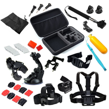 For Gopro Package of Chest+Head Strap+Floating Grip + Monopod + Case Chest Strap for GoPro Hero 2 three three+ four and xiaomi yi motion digital camera