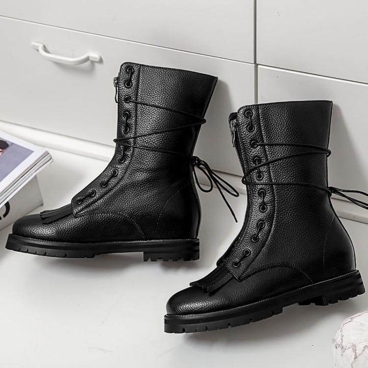 233b0a1be05789 Femme De Avant Militaire Frais Cheville Bottes attaché En Noir Gland Zapatos  blanc Sangle Chic Mujer Cuir ...