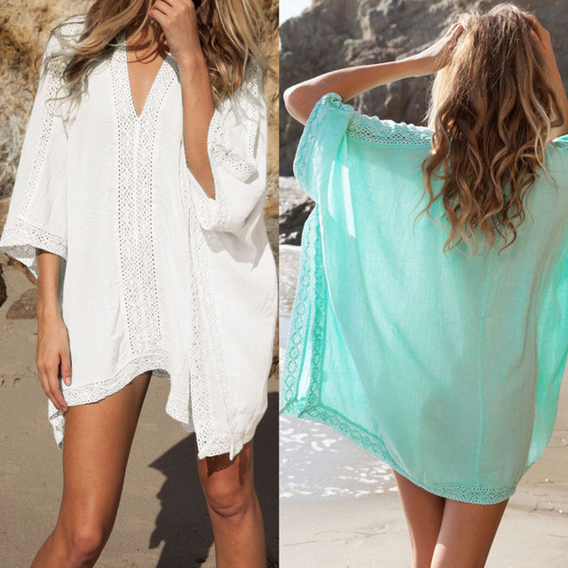 3df53d1eb11a6 Lace Beach Cover up Cotton V-neck Bikini Cover Ups Women Swimsuit Covers up  Beachwear Beach Tunic Bathing Suit Coverups
