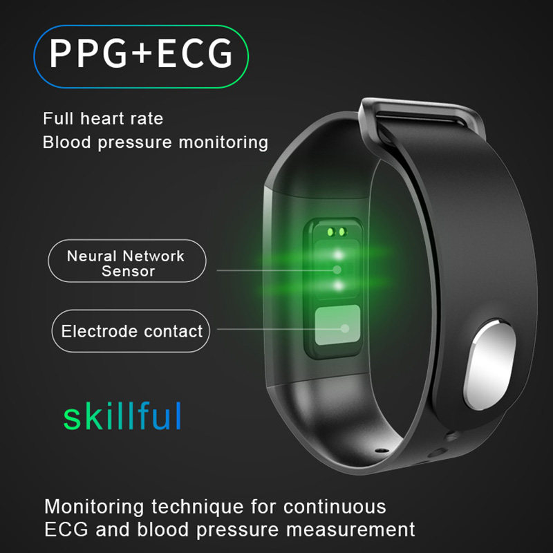 ECG PPG smart watch with electrocardiograph ecg display holter ecg heart  rate monitor blood pressure smartwatch ecg N58