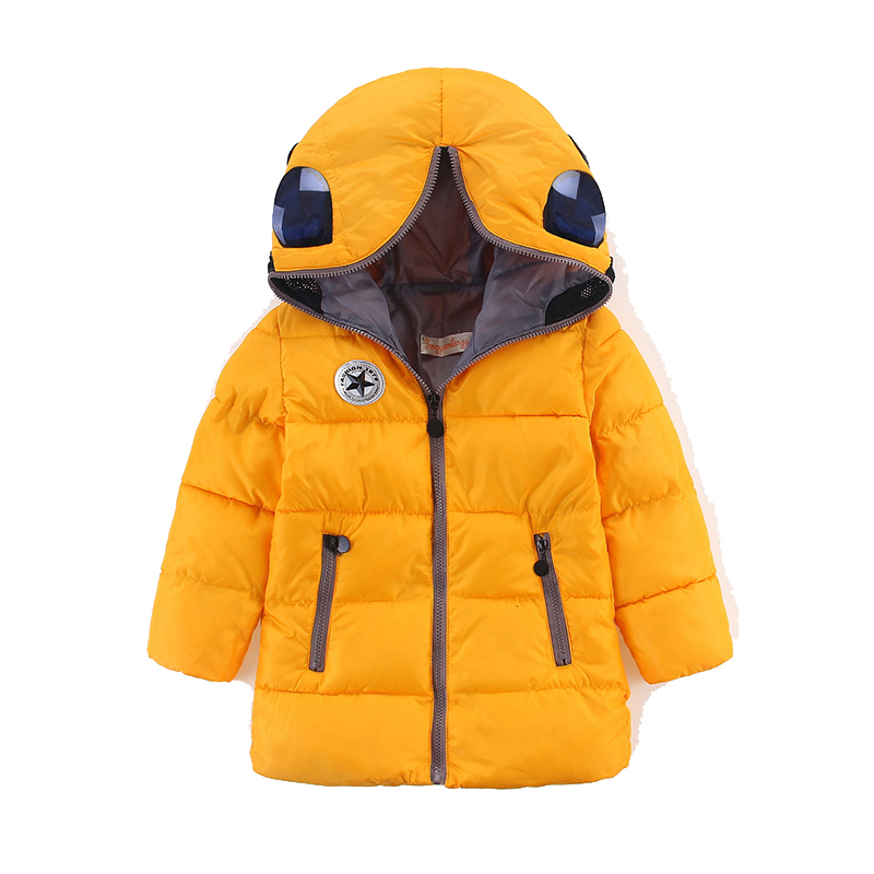 ФОТО 2016 Winter Boys Parka Snowsuit Kids Warm Jacket Clothes Girls Children Cartoon Padded Jackets Hoodies Outwear Down Coat Child