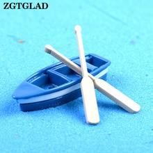 1Pcs boat and 2pcs oar miniatures lovely cute fairy garden g