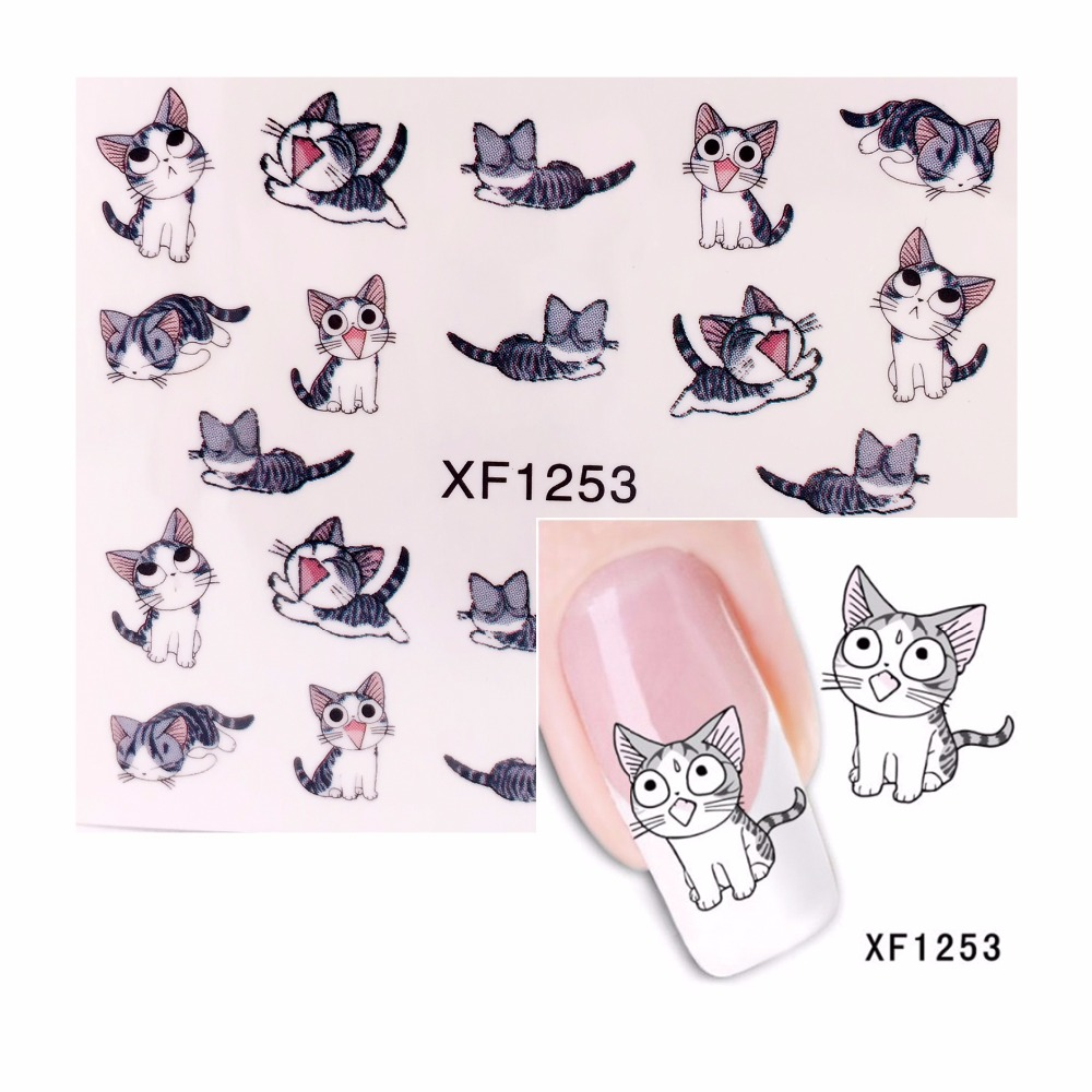 FWC 1 Sheet Flower Nail Sticker Water Decals Nail Art Water Transfer Stickers Manicure Tools For Nails 1253 yzwle 1 sheet diy decals nails art water transfer printing stickers accessories for manicure salon yzw 156
