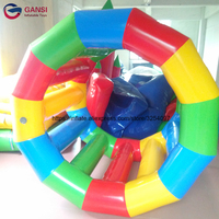 Water park games rental inflatable water treadmill,Commercial grade inflatable hamster roller wheel with free air pump