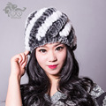 Hot Style 2014 Winter Genuine Natural Rex Rabbit Fur Hats Real Stripe Covering Cap for Women Headgear Thermal Female Hat