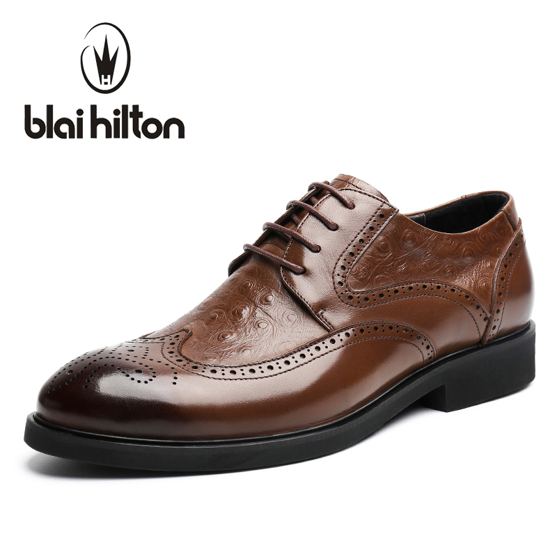 Blaibilton New Brogue Designer 100% Genuine Leather Patchwork Business Dress Men Shoes Classic Fashion Mens Shoes Casual Oxfords casual women s sandals with flip flops and tie up design