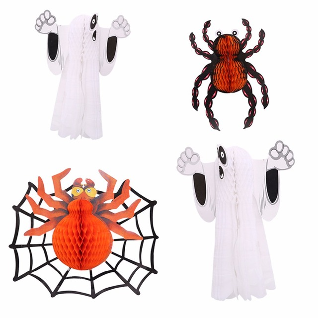 3D DIY Paper Halloween Decoration Fold Ghost Spider Wall Decals ...