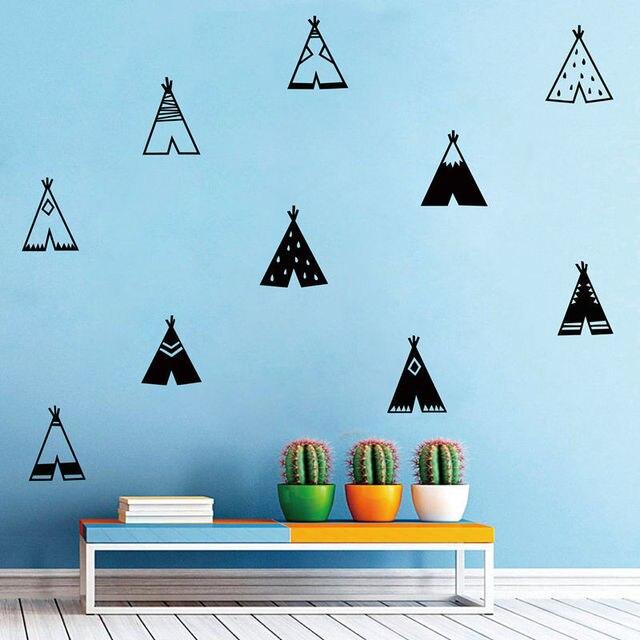 Nordic Style Teepee Vinyl Wall Sticker Nursery Decor , Modern Kids Bedroom  Wall Decals Cute Tribal Tents Art Decor F657