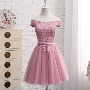 Image 5 - QNZL987D#Off Shoulder Gauzy pink lace up bridesmaid dresses new spring summer 2020 short Middle long style party prom dress