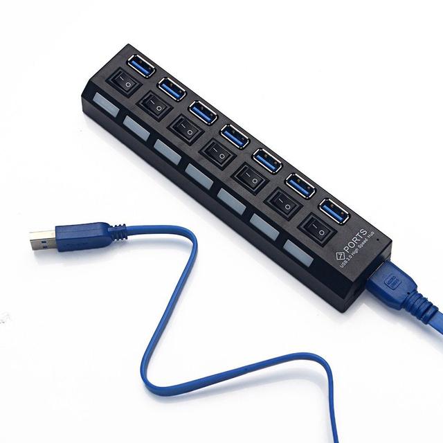 7 PORTAS USB 3.0 HUB USB de Alta Velocidade Hub Para PC Desktop Portátil Notebook hub usb