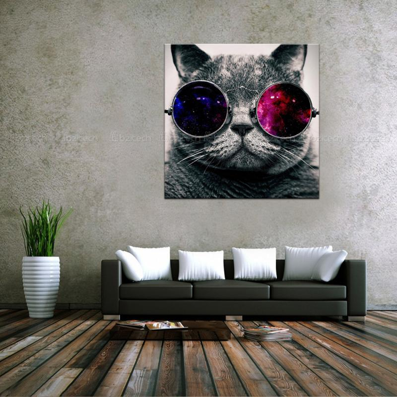 50*50cm HD Spray Canvas Print Painting Bespectacled Cool Cat Wall Art Decor  Picture Modern Home Decoration Wall Stickers 072003 In Painting U0026  Calligraphy ...