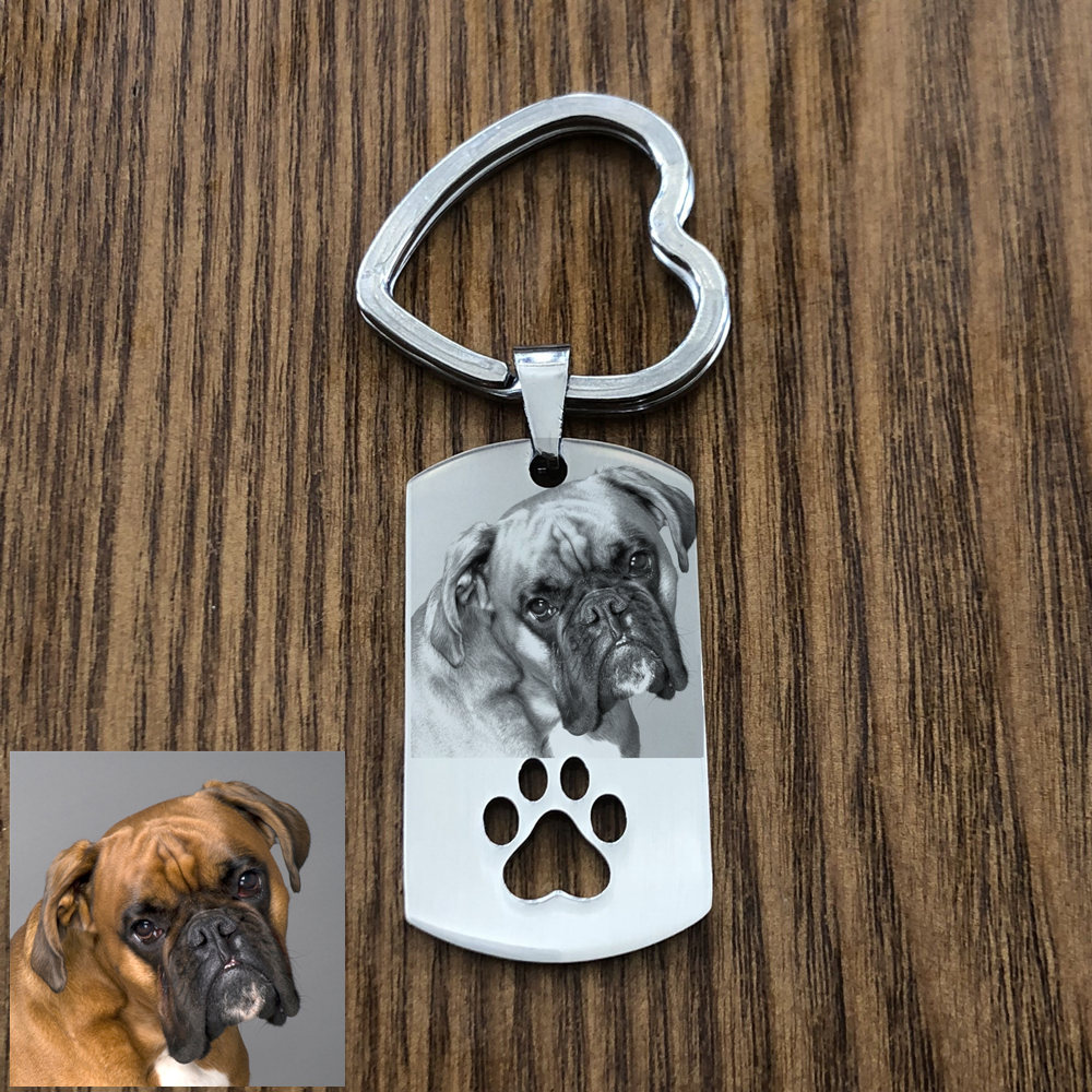 Custom DIY Dog Tag Photo Keychain Stainless Steel Engraved Photograph Keychain For Love Dog People Dog Keepsake