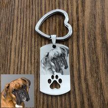 Custom DIY Dog Tag Photo Keychain Stainless Steel Engraved photograph Keychain For Love Dog People Dog Keepsake geometric cat dark brown military dog tag keychain