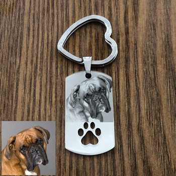 Custom DIY Dog Tag Photo Keychain Stainless Steel Engraved photograph Keychain For Love Dog People Dog Keepsake custom dog tag photo keychain stainless steel engraved photograph text diy key chain for love dog keepsake