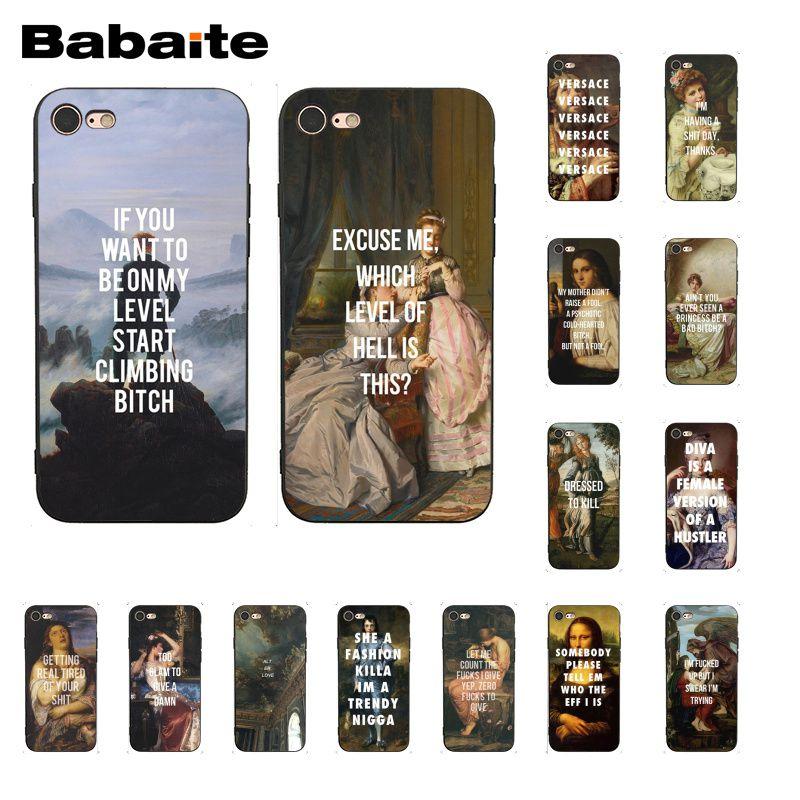Babaite Classic Art <font><b>Memes</b></font> Quotes Painting Phone Case for iphone 11 Pro 11Pro Max 5 5Sx 6 7 7plus 8 8Plus X XS MAX XR image
