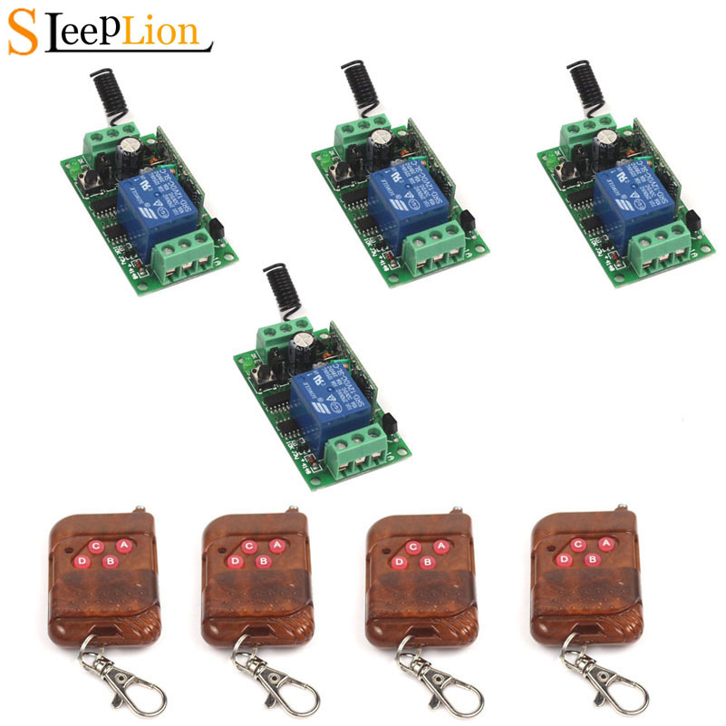 Sleeplion12V 10A 1CH Wireless Relay Switch 4 4-key wireless RF Smart Control Switch Transmitter+4 Receiver Module 12V 315/433MHzSleeplion12V 10A 1CH Wireless Relay Switch 4 4-key wireless RF Smart Control Switch Transmitter+4 Receiver Module 12V 315/433MHz