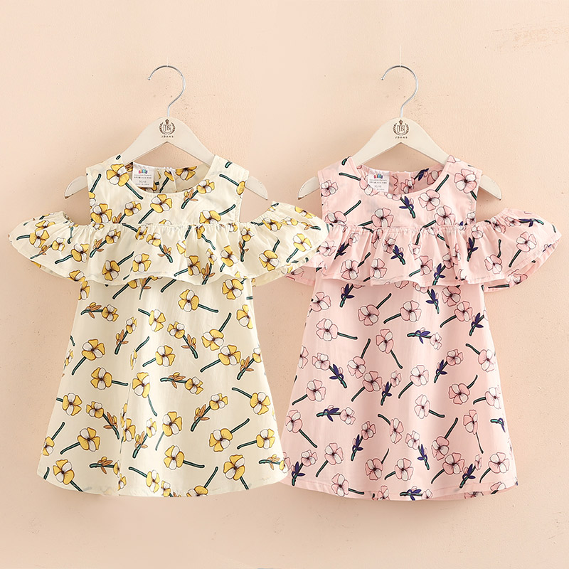 2018 Summer 2-12T Children Cotton Flower Floral Print Wrap Off Shoulder Little <font><b>Sexy</b></font> Girl Strapless Dresses For Girls <font><b>12</b></font> <font><b>Years</b></font> image