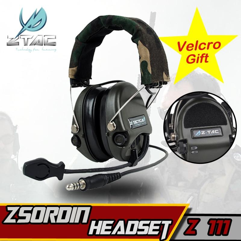 Z-TAC Z 111 Z tactique casque (Version Officielle) anti-bruit casque Sordin Deux Radios Bidirectionnelles Militaire Paintball chasse Casque