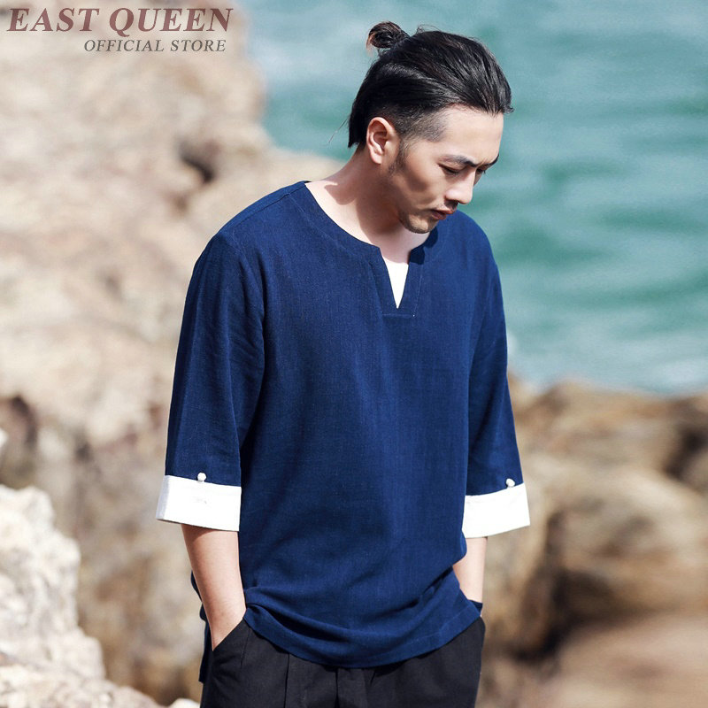 Traditional chinese clothing for men casual loose tops blouse traditional chinese shirt online chinese store shirts AA3863 Y A image
