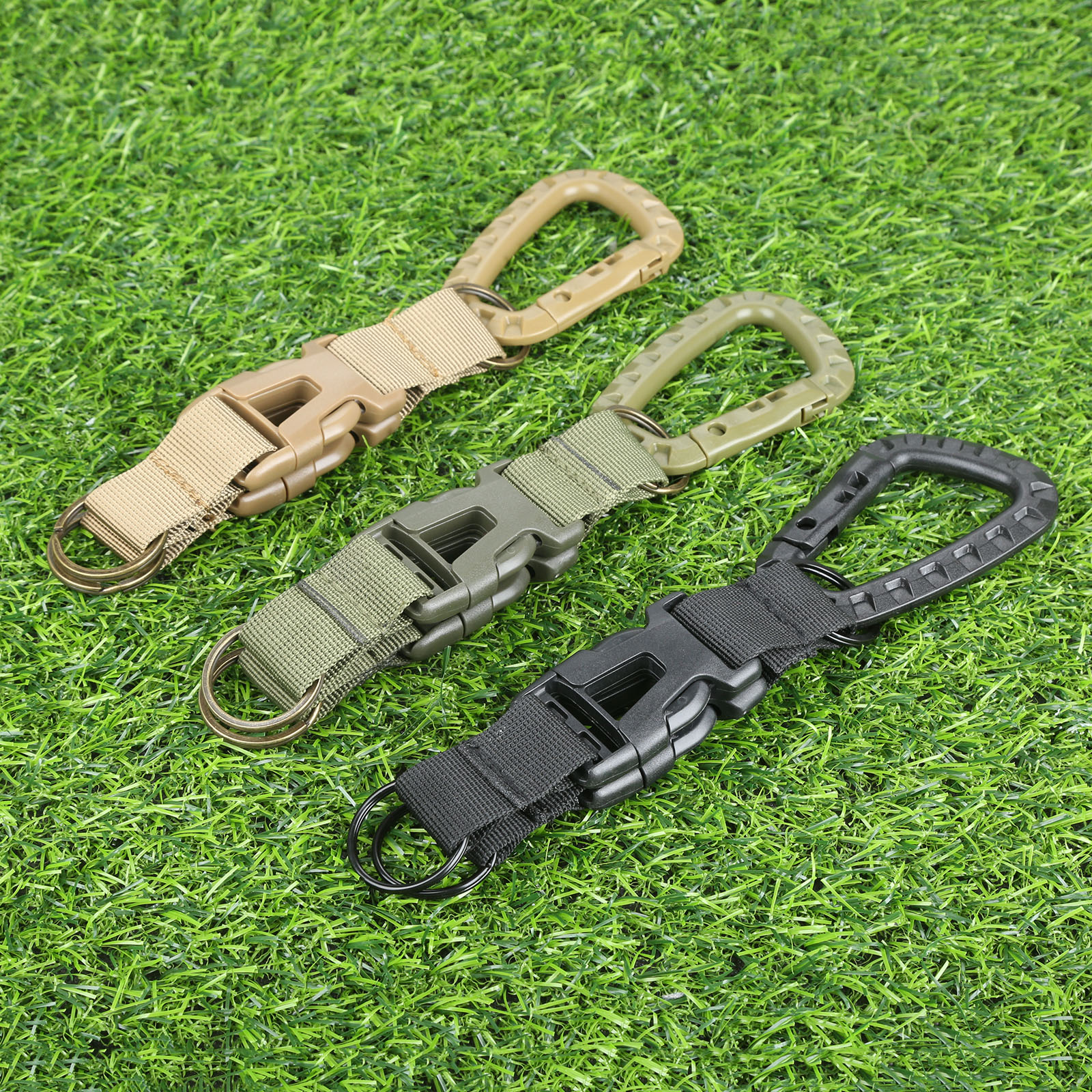 Tactical Backpack Carabiner Shackle Keychain Buckle Hook Molle Webbing Keychain Strap Belt Clip Military EDC Outdoor Multi Tools
