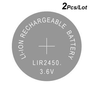 Button Cells Li-ion Rechargeable Battery LIR2450 3.6V 2 PCS Lithium Coin Cell Batteries LIR 2450 Replaces CR2450(China)