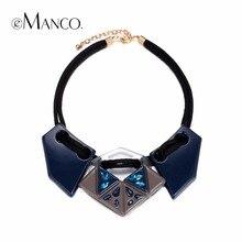 EManco resina geométricas colgante collar gargantilla ajustable declaración de cristal para las mujeres de la joyería colar feminino