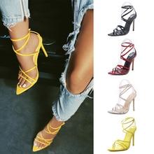 Summer Women Pumps Fashion Women Shoes Sexy High Heels Women Sandals Ankle Cross Strap Ladies Shoes Party Shoes Plus Size 43
