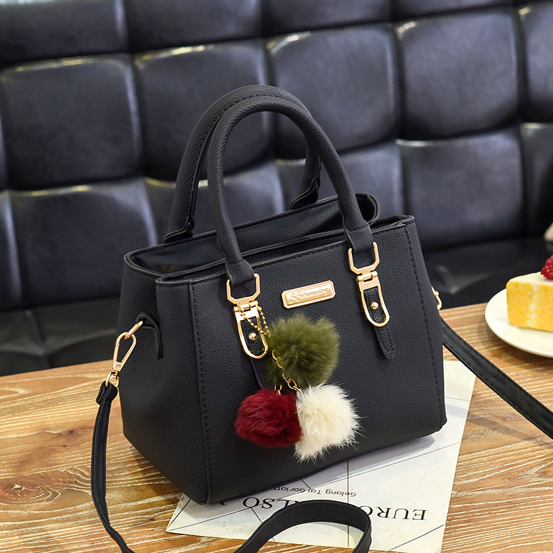Image 2 - Fashion women hairball ornaments totes solid high quality handbag hotsale party purse ladies messenger crossbody shoulder bags-in Shoulder Bags from Luggage & Bags