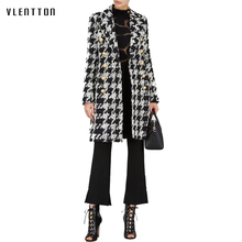 2019 New Autumn Winter Women Trench Coat Women Fashons Double Breasted Wool Black White Lattice Trench Coat Outerwear new arrival autumn trench coat women loose clothing outerwear high quality double breasted women hooded long coat
