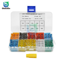 цена на 100pcs/Lot Auto Car Fuse Medium Size Blade Fuse 2A 3A 5A 7.5A 10A 15A 20A 25A 30A 35A Fuses Set 15A Plastic Box