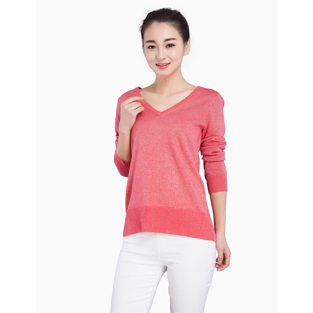 ̿̿̿(•̪ )Primavera otoño moda mujer suéter Jersey jersey con plata y ...