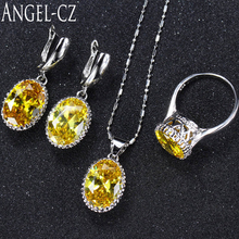 ANGELCZ Women Fashion Sterling Silver 925 3pcs High Quality Yellow Cubic Zirconia Stone Jewelry Sets For 2017 Summer Style AJ004