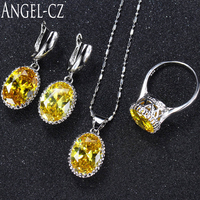 Women Fashion Sterling Silver 925 3 Pcs High Qulity Yellow Cubic Zirconia Stone Jewelry Sets For