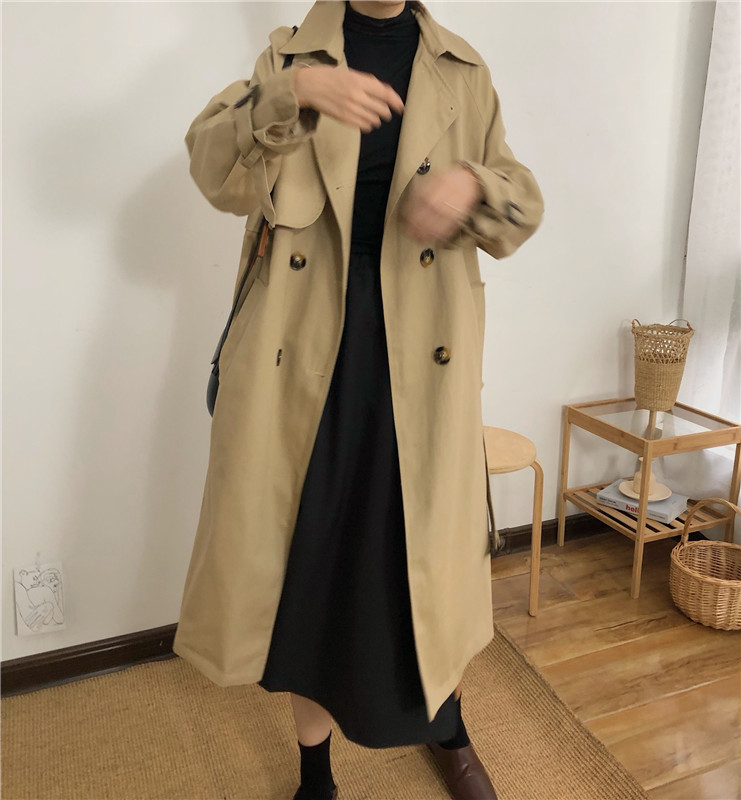 Spring And Autumn Women Fashion Brand Korea Style Waist Belt Loose Khaki Color Trench Female Casual Elegant Soft Long Coat Cloth 12