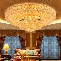 LED de Cristal Moderna Do Teto Lâmpadas Americano Rodada de Ouro de Cristal Luzes de Teto Luminária Living Room Bed Room Home Lighting Indoor