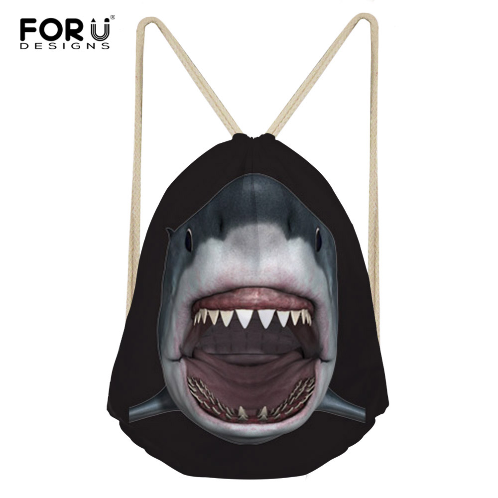 FORUDESIGNS Drawstring Women Backpack Small Cartoon Shark Animal Printed Women Softback Bagpack School Girls Drawstring Bags