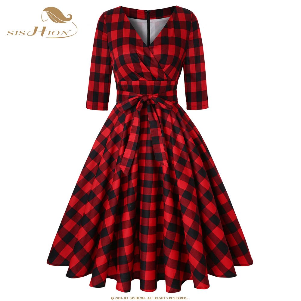 US $29.98 20% OFF|SISHION Rockabilly Dress Half Sleeve Cotton Women 50s 60s  Large Swing Plus Size Retro Vintage Red Plaid Autumn Dress SD0006-in ...