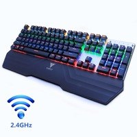 Wireless gaming mechanical keyboard LED backlit black blue switch rechargeable 2.4GHz Gamer US/Russian sticker for PC TV BOX