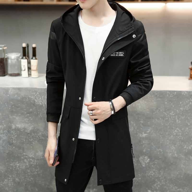 Autumn oversize hooded   trench   young men jacket coat high quality slim trenchcoat man clothing male brand long windbreaker