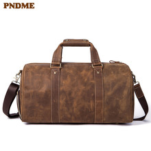 PNDME vintage high quality crazy horse leather men women travel bag genuine luggage casual simple fitness sports