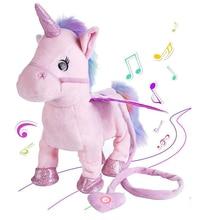 35 см электрическая ходьба Единорог плюшевая игрушка чучело игрушка электронная музыка Единорог игрушка для детей рождественские подарки