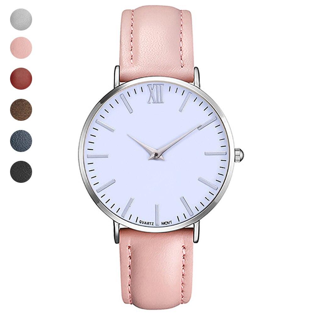 Classic Quartz Wrist Watch PU Leather Strap Roman Scale Students Casual Watches LXH