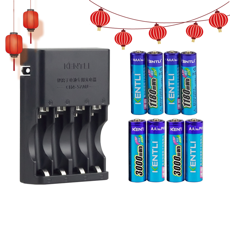 KENTLI 8pcs 1.5v aa aaa batteries Rechargeable Li-ion Li-polymer Lithium battery + 4 slots AA AAA lithium li-ion Smart Charger kentli ultra low self discharge 16 slot polymer li ion lithium batteries charger 16 pcs plib li ionaa aaa battery