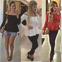 2016 spring new fashion women sexy off shoulder blouse casual long sleeved blusas femininas peplum tops plus size