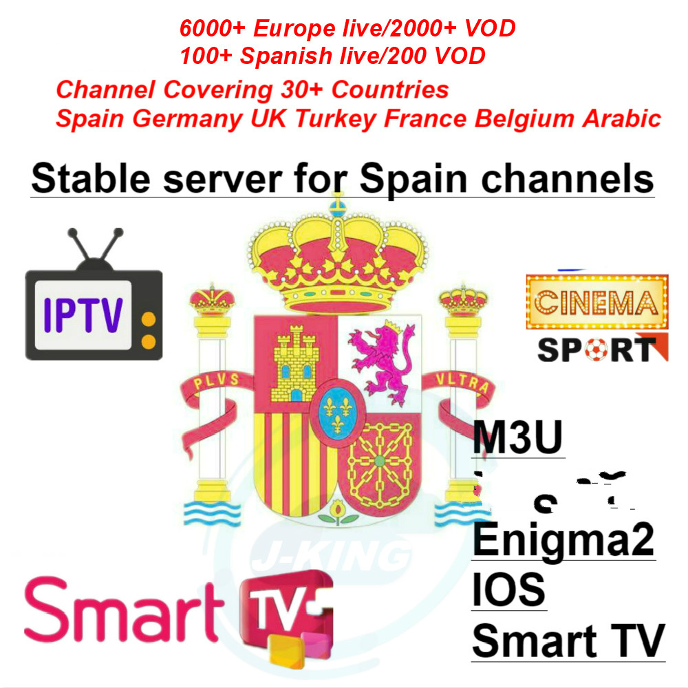 Espagne Espagnol/Spain/Spanish Iptv 7000+Live France Portugal Sport IPTV Abonnement M3u Voor Android Tv Box Enigma2 M3u Smart TV